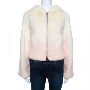 Celine Off White Gradient Mink Fur Zip Front Hooded Jacket S