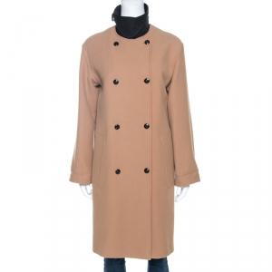 Celine Beige Wool Contrast Trim Detail Double Breasted Coat S
