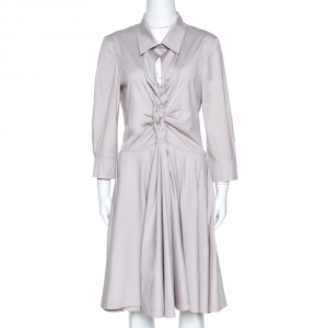 Celine Pale Grey Stretch Cotton Braided Front Detail Midi Dress L - used