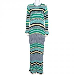 Celine Green Striped Knit Long Sleeve Maxi Dress M