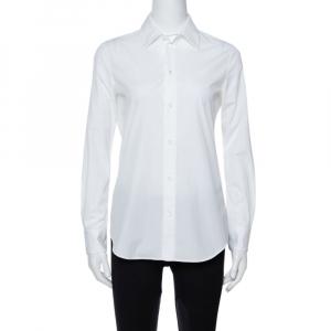 Celine White Cotton Poplin Long Sleeve Shirt S