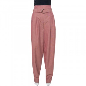 Celine Red Micro Check Pattern Wool Tapered Trousers S