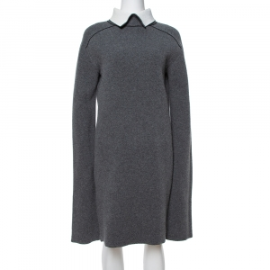 Celine Grey Wool Contrast Turtle Neck Sweater Dress S