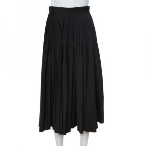 Celine Black Wool Pleated Midi Skirt S