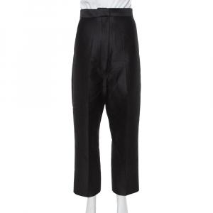 Celine Black Wool & Silk High Waist Tapered Trousers S