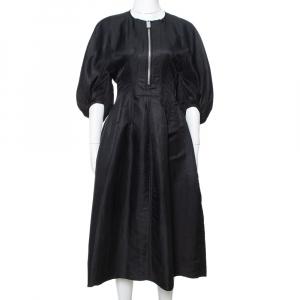 Celine Black Linen Zip Front Balloon Sleeve Dress M