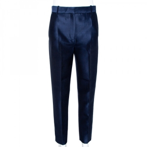 Celine Navy Blue Wool & Silk Tapered Trousers S