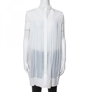 Celine Off White Cotton Pleated High Low Hem Blouse M - used