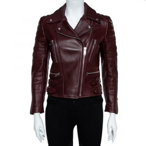 Celine Burgundy Leather Biker Jacket S