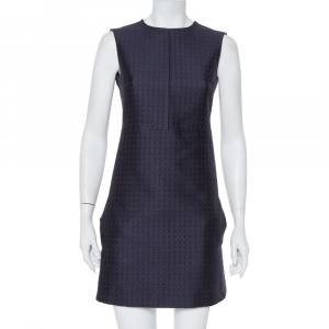Celine Navy Blue Brocade Sleeveless Sheath Dress S - used