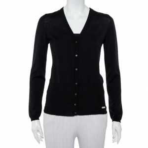 Celine Black Cashmere & Silk Button Front Cardigan M