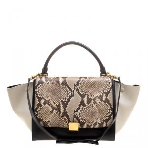 Celine Tri Color Leather and Snakeskin Medium Trapeze Tote