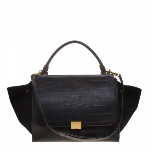 Celine Black Croc Emboosed Leather and Suede Medium Trapeze Bag