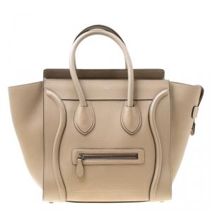 Celine Light Brown Leather Mini Luggage Tote