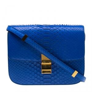 حقيبة كتف سيلين كلاسيك بوكس جلد ثعبان أزرق متوسطة
