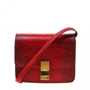 حقيبة سيلين قلاب بوكس كلاسيك صغيرة جلد سحلية حمراء