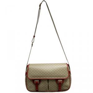 Celine Beige/Red Macadam Coated Canvas Vintage Messenger Bag