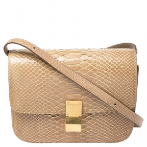 Celine Beige Python Medium Classic Box Shoulder Bag