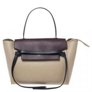 Celine Beige/Burgundy Leather Nano Belt Bag