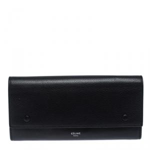 Celine Black Leather Large Multifunction Flap Wallet
