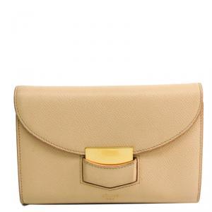 Celine Beige Leather Trotter Medium Bifold Wallet