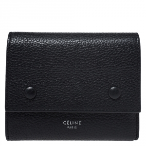 Celine Black Leather Small Trifold Wallet