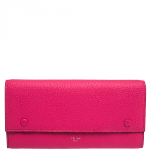 Celine Pink Leather Multifunction Flap Continental Wallet