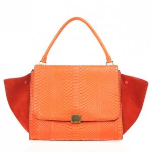 Celine Orange Large Trapeze Exotic Bag