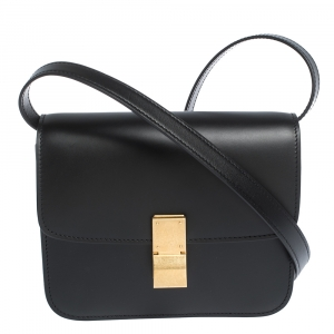 Celine Black Leather Small Classic Box Flap Bag