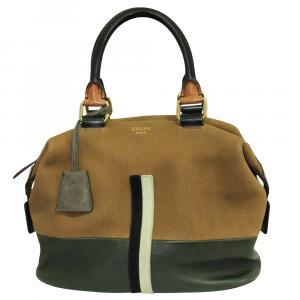 Celine Brown Leather Racer Stripe Boston Bag