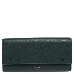 Celine Dark Green Leather Large Multifunction Flap Wallet