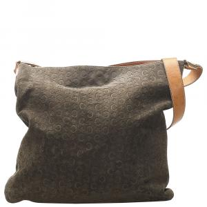 Celine Brown/Dark Brown Suede CC Macadam Tote Bag