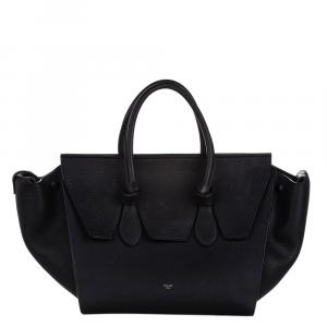 Celine Black Leather Small Tie Tote Bag