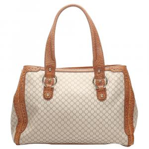 Celine Beige/Brown Coated Canvas Macadam Tote Bag