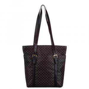 Celine Black Leather Macadam Tote Bag