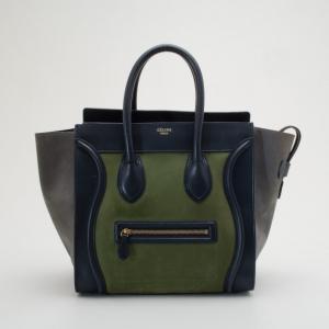 Celine Suede Tricolor Mini Luggage Bag
