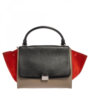 Celine Multicolor Leather and Suede Medium Trapeze Bag