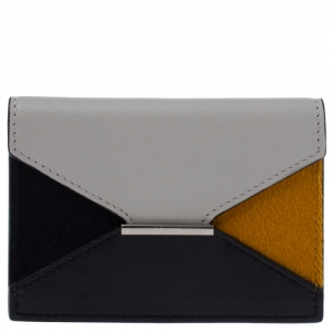 Celine Multicolor Leather and Calfhair Diamond Card Case