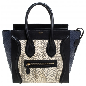 Celine Tri Color Python and Leather Micro Luggage Tote