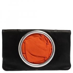Celine Black Nappa Leather Eyelet Pouch