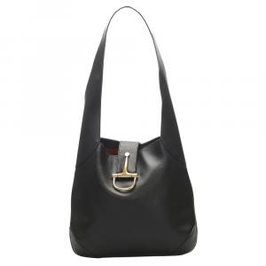Celine Black Leather Hobo Bag
