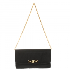 Celine Black Leather Chain Shoulder Bag