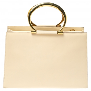 Celine Light Cream Leather Ring Handle Tote