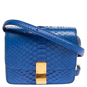 Celine Blue Python Small Classic Box Flap Bag