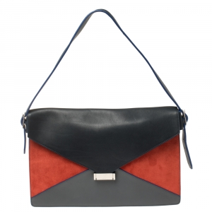 Celine Multicolor Leather and Suede Diamond Clutch Bag