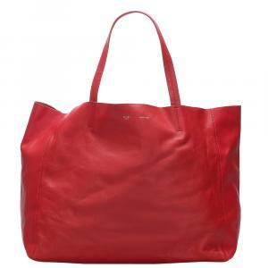 Celine Red Calfskin Leather Horizontal Cabas Bag
