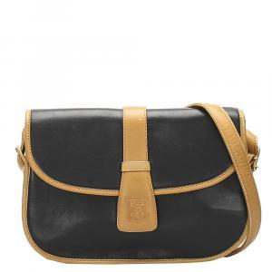 Celine Black/Brown Leather Vintage Crossbody Bag