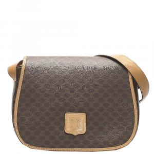 Celine Brown PVC Leather Macadam Shoulder Bag