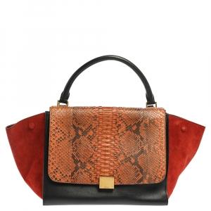 حقيبة سيلين ترابيز جلد أحمر وسويدي وجلد الثعبان متعددة الألوان متوسطة