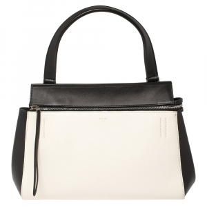 Céline Black/White Leather Small Edge Bag